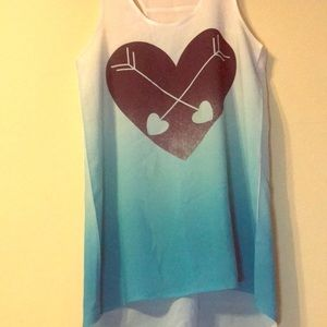 White to blue fade tank top